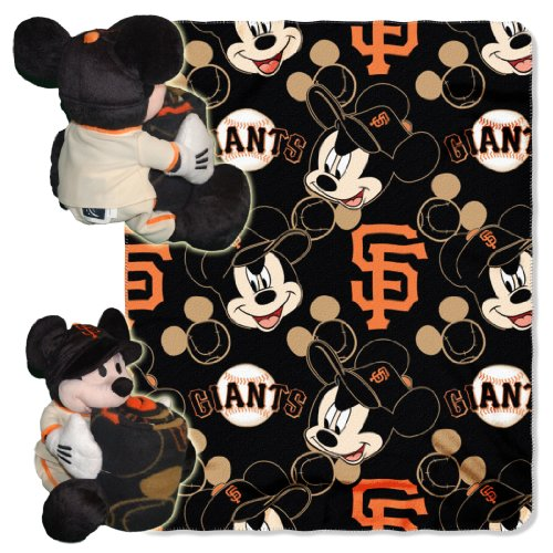 Officially Licensed MLB San Francisco Giants Pitch Crazy Co-Branded Disney's Mickey Hugger and Fleece Throw Set