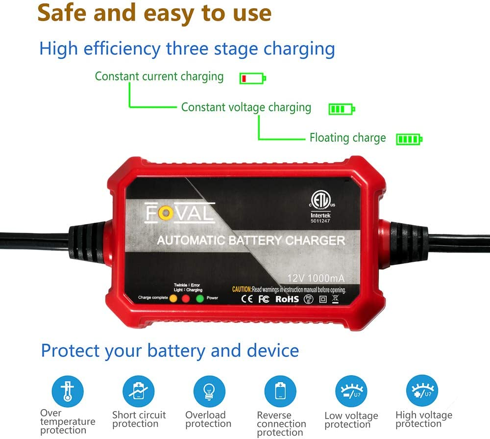 Battery Chargers Foval Automatic Trickle Battery Charger 12V ...