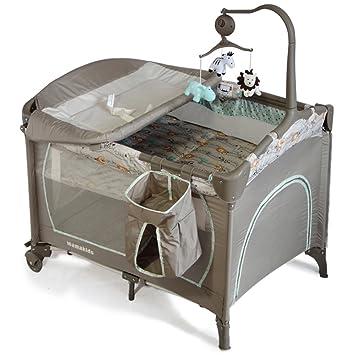 Angebébé - Lit parapluie bébé 2 niveaux avec Mobile musical et avec Table à  langer - Expédie depuis Paris (Lion et ses amis)