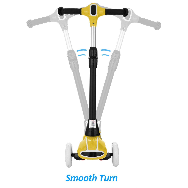 weskate R5 Niños Scooter - Patinete, ajustable y plegable Kick Roller Cubo de patinete con ruedas, con 4 PU de intermitente en las ruedas, ...