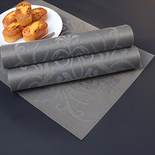 Placemats Set of 6 Heat-resistant Anti-skid PVC Placemat for Dining Table Durable Woven Vinyl Stain Resistant Table Mats Exquisite Pack by PETJAY (Image #5)'