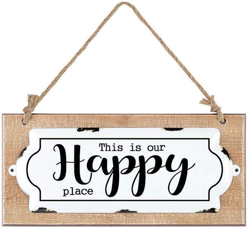 """This is Our Happy Place Sign for Home Decor,Vintage Wood and Metal Home Sign,Farmhouse Sign,Decorative Hanging Wood Sign Home Decor 13.5"""" x 6.1"""""""