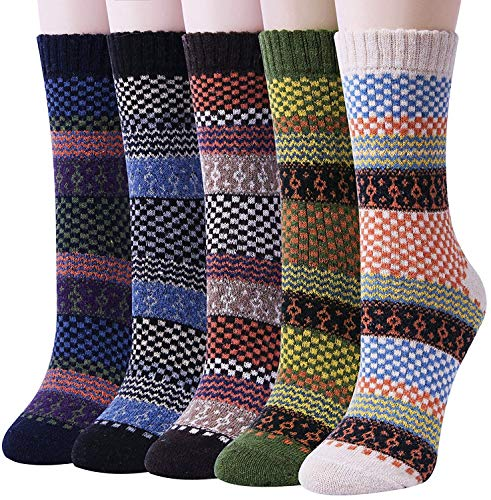 Pack of 5 Womens Winter Soft Warm Thick Knit Wool Vintage Casual Crew Socks (Multicolor 12)