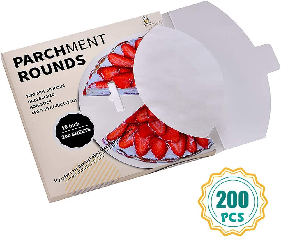 Katbite Parchment Paper Rounds - 200, 10 Inch, 6''8''9''12'' Parchment Rounds for Cake Baking, Air Fryer
