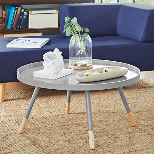 Frost Coffee (Marcella Paint-dipped Round Spindle Tray Top Coffee Table (Frost Grey))