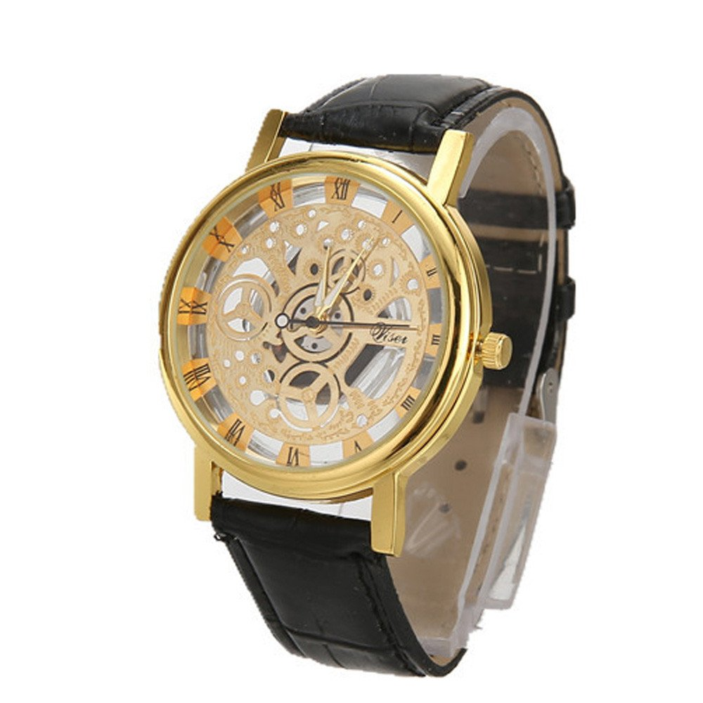 Men Watch,Hotkey Men Quartz Military Sport Luxury Business Casual Wristwatch,Leather Band,Stainless Steel Case Classic (Gold and black)