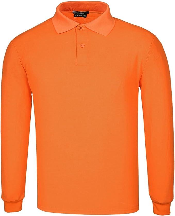 DONNAY Hombre Camiseta Polo Manga Larga De Algodón Naranja L ...