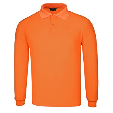 DONNAY Hombre Camiseta Polo Manga Larga De Algodón Naranja S ...