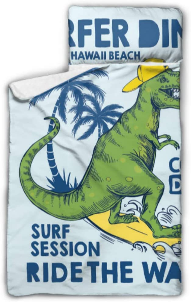 SGFDH Dinosaur is Riding Surfboard Best Toddler Nap Mat Nap Mat Daycare with Blanket and Pillow Rollup Design Great for Preschool Daycare Sleepovers 50x20
