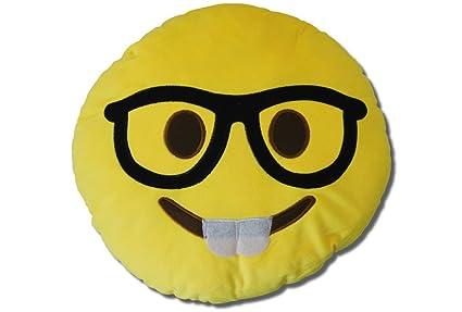 Katara 1788 Cojín Redondo Emoji Almohadilla Emoticono Whatsapp, Almohada Smiley De Peluche, Para Sofá - Con Gafas