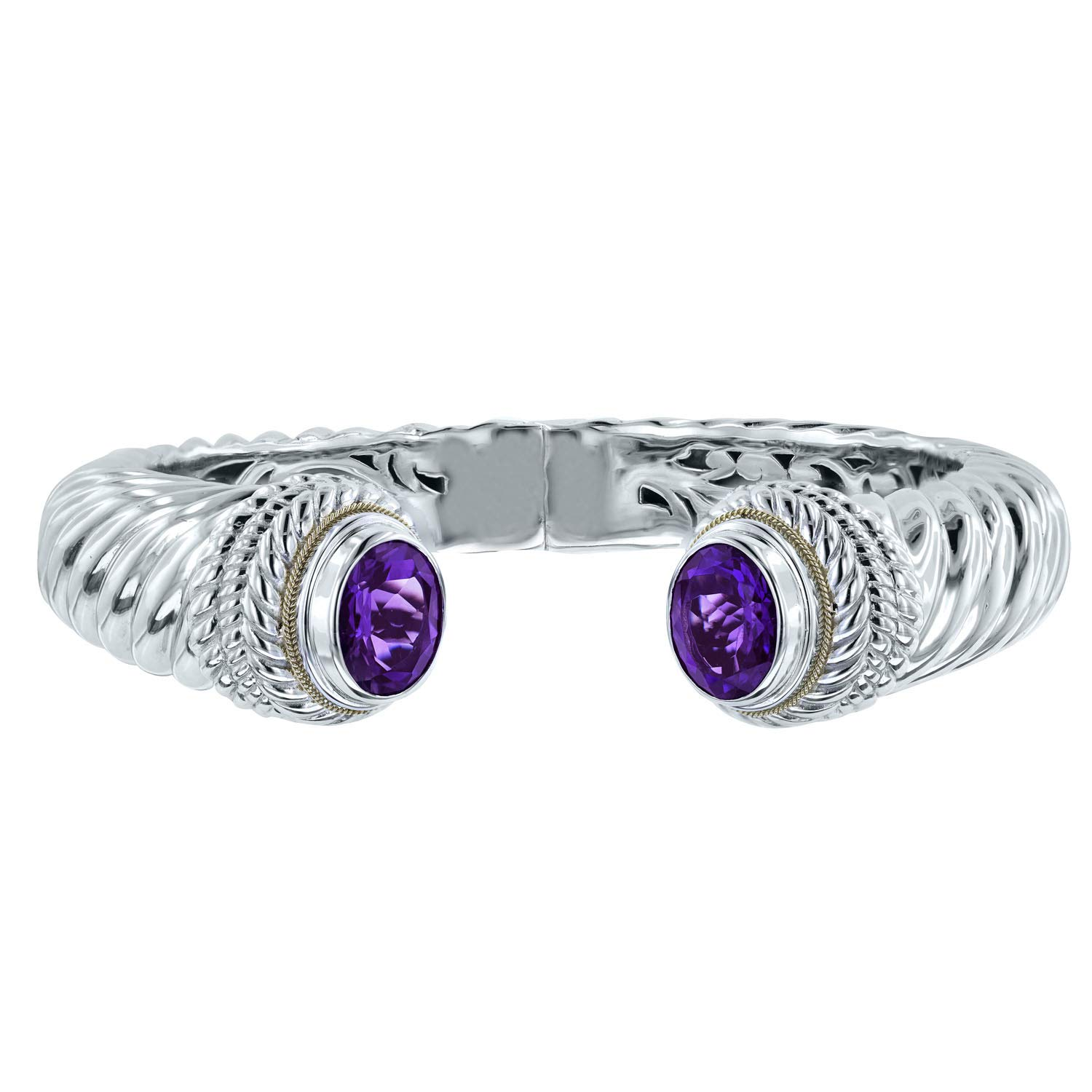 Robert Manse Designs Bali Romanse Gemstone Sterling Silver and 18K Gold Hinged Cuff Bracelet (Amethyst)