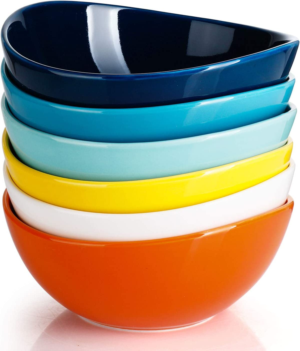 Sweese 103.002 Porcelain Bowls - 28 Ounce for Cereal, Salad and Desserts - Set of 6, Hot Assorted Colors