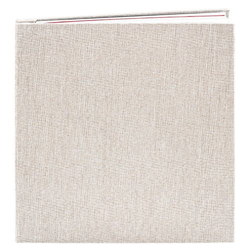 CenterZ Rustic Self Adhesive Photo Album Scrapbook, 10.6x11 inch 40 Pages Magnetic Double Sided Sheet, Linen Cloth Cover 3-Eyelet Binder Picture Booth Albums for Custom Memory Keep (Champagne + White)