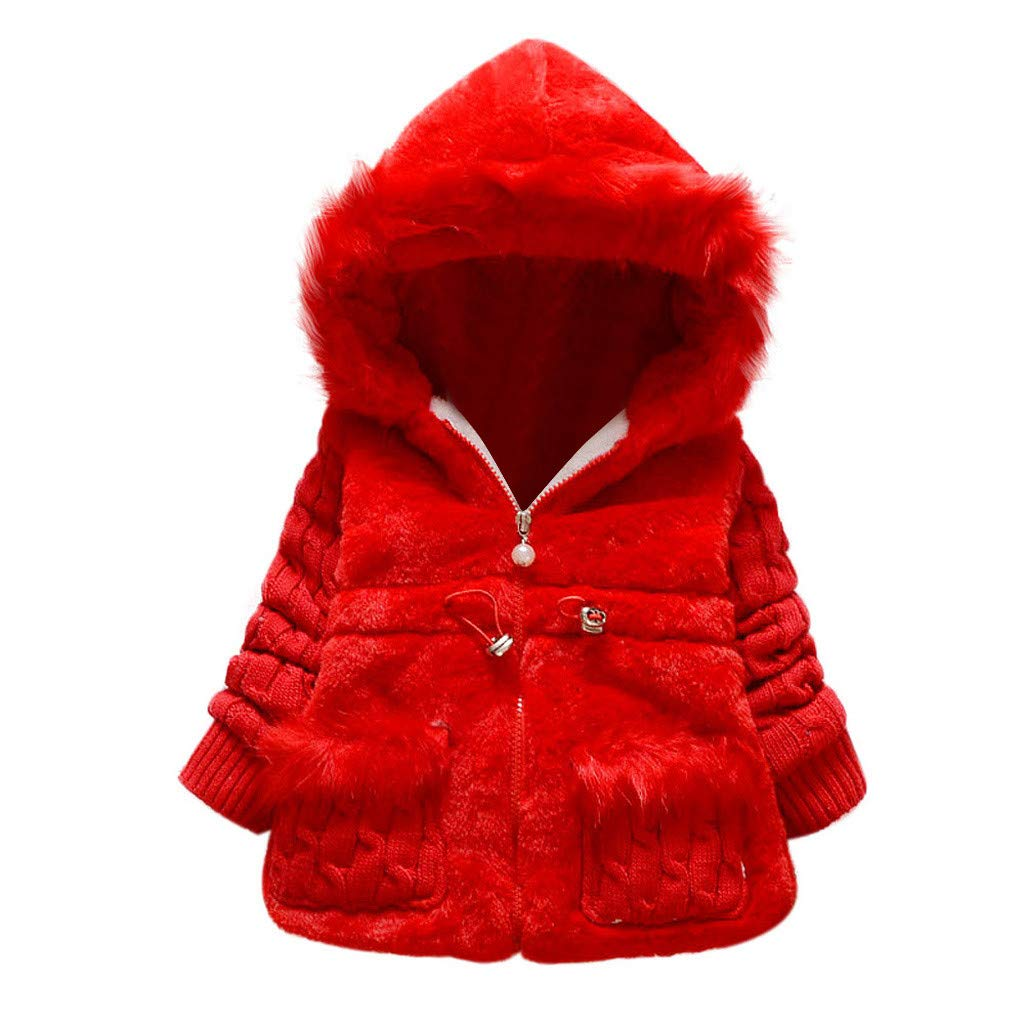Toddler Baby Girls Winter Fleece Coat Faux Fur Outerwear Snowsuit Jackets with Hood Thicken (1-2 Years, Red) by sweetnice baby clothing