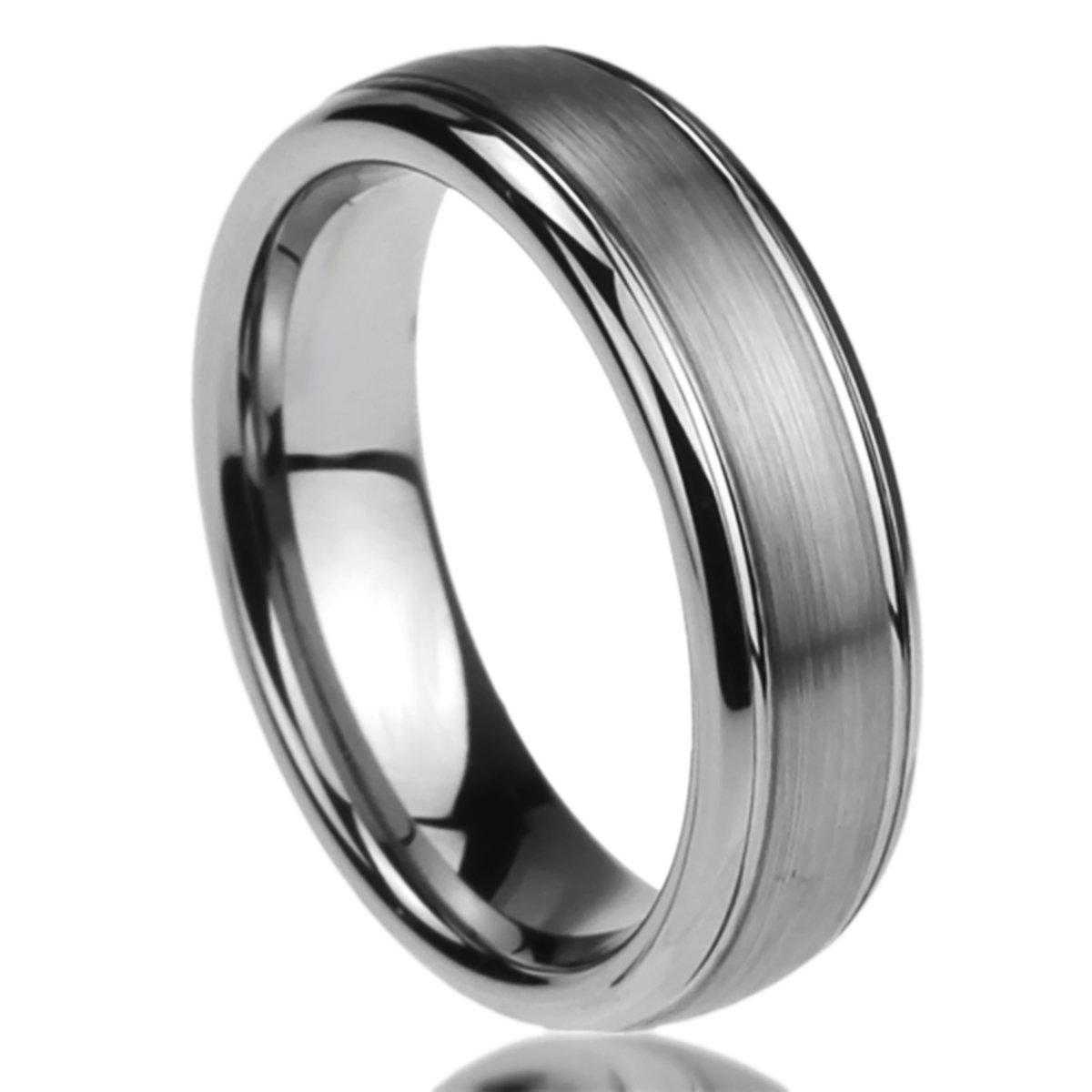 Prime Pristine Titanium Wedding Band Ring for Men & Women Brushed Centered Domed Ring for Men & Woman