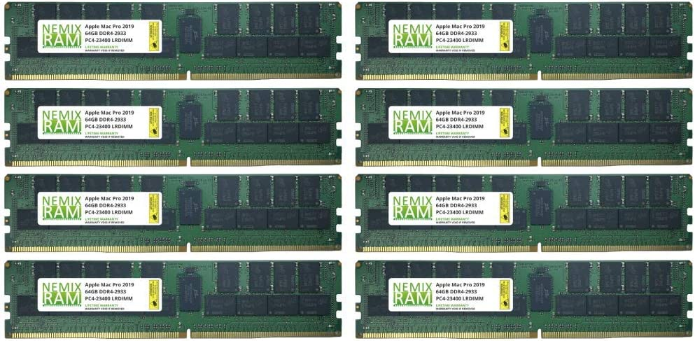 512GB 8x64GB DDR4-2933Mhz PC4-23400 288-Pin LRDIMM Memory for Apple Mac Pro 2019 7,1 by NEMIX RAM