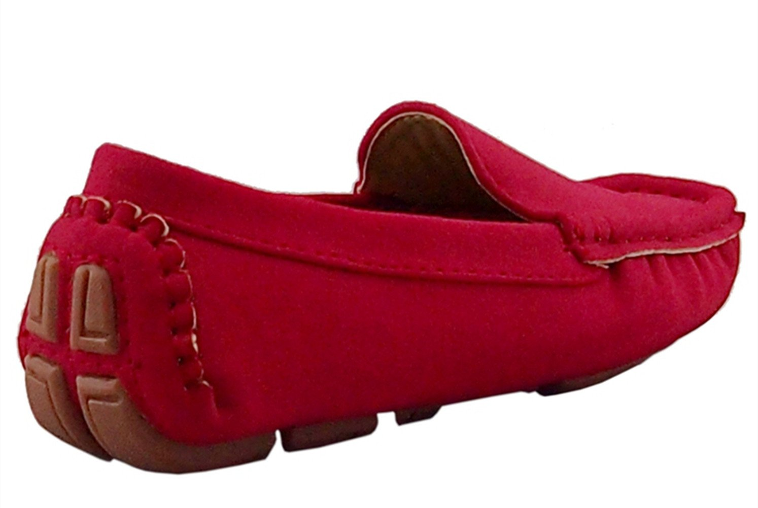 DADAWEN Girl's Boy's Suede Slip-on Loafers Oxford Shoes Red US Size 6.5 M Toddler by DADAWEN (Image #6)