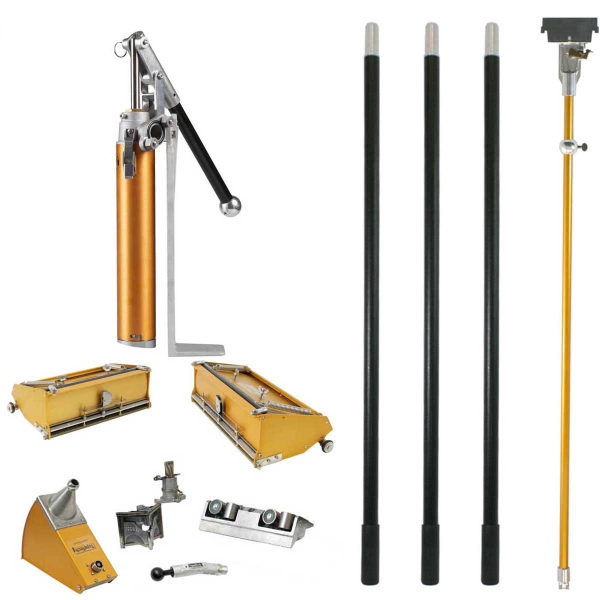 TapeTech Full Drywall Finishing Set with Extra Handles, 10'' & 12'' Flat Boxes, Angle Head, Angle Box, Corner Roller, Pump