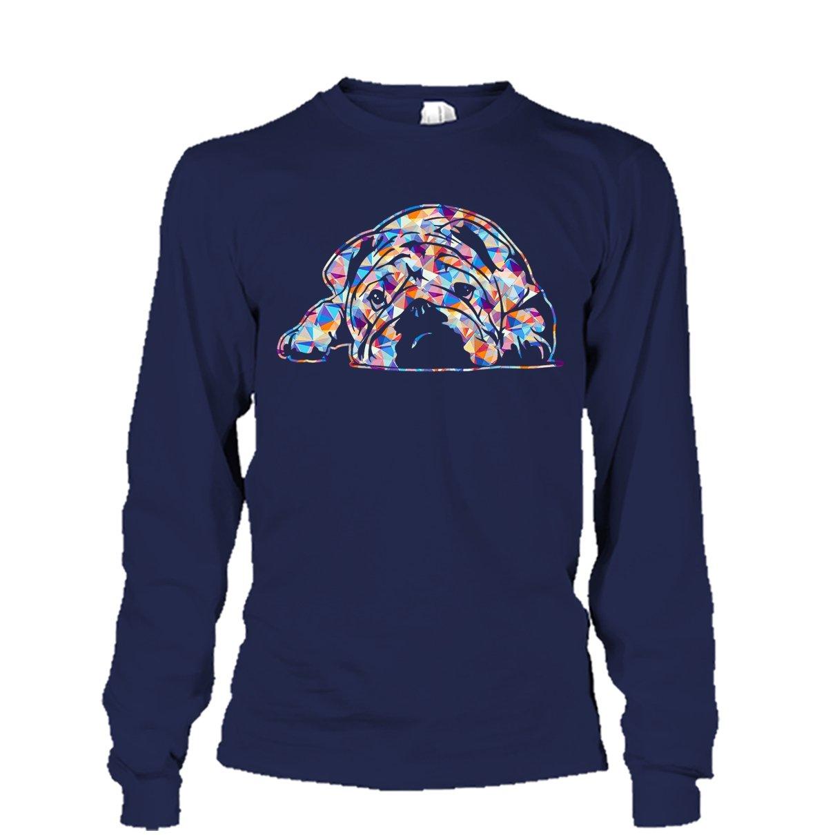 English Bulldog Cool Tshirt English Bulldog Geometric Colorful Tee Shirt Design for Men and Women