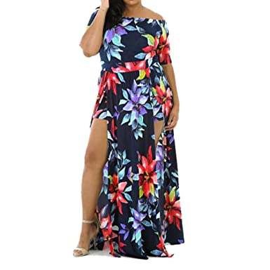 3e419b518f5 AmyDong Hot Sale Women's Dress,Sexy Jumpsuit Romper Short Trousers  Short-Sleeved Print Dress