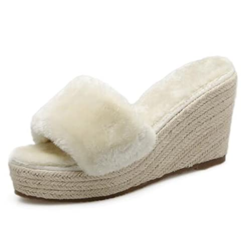 amazon com luxury furry fur slippers womens slids sandals platform