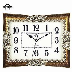 18In continental wall clock simple single-sided rectangular idyllic wall chart modern bedrooms mute Jong-living room quartz clock,18Inch,2