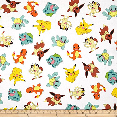 Poke'mon Tossed White Fabric By The (Pokemon Fabric)