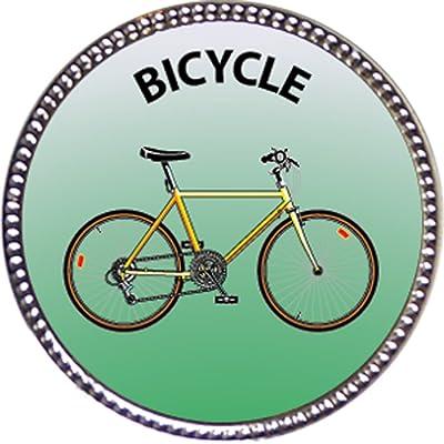 Keepsake Awards Bicycle Award, 1 inch Dia Silver Pin Recreation Collection: Toys & Games
