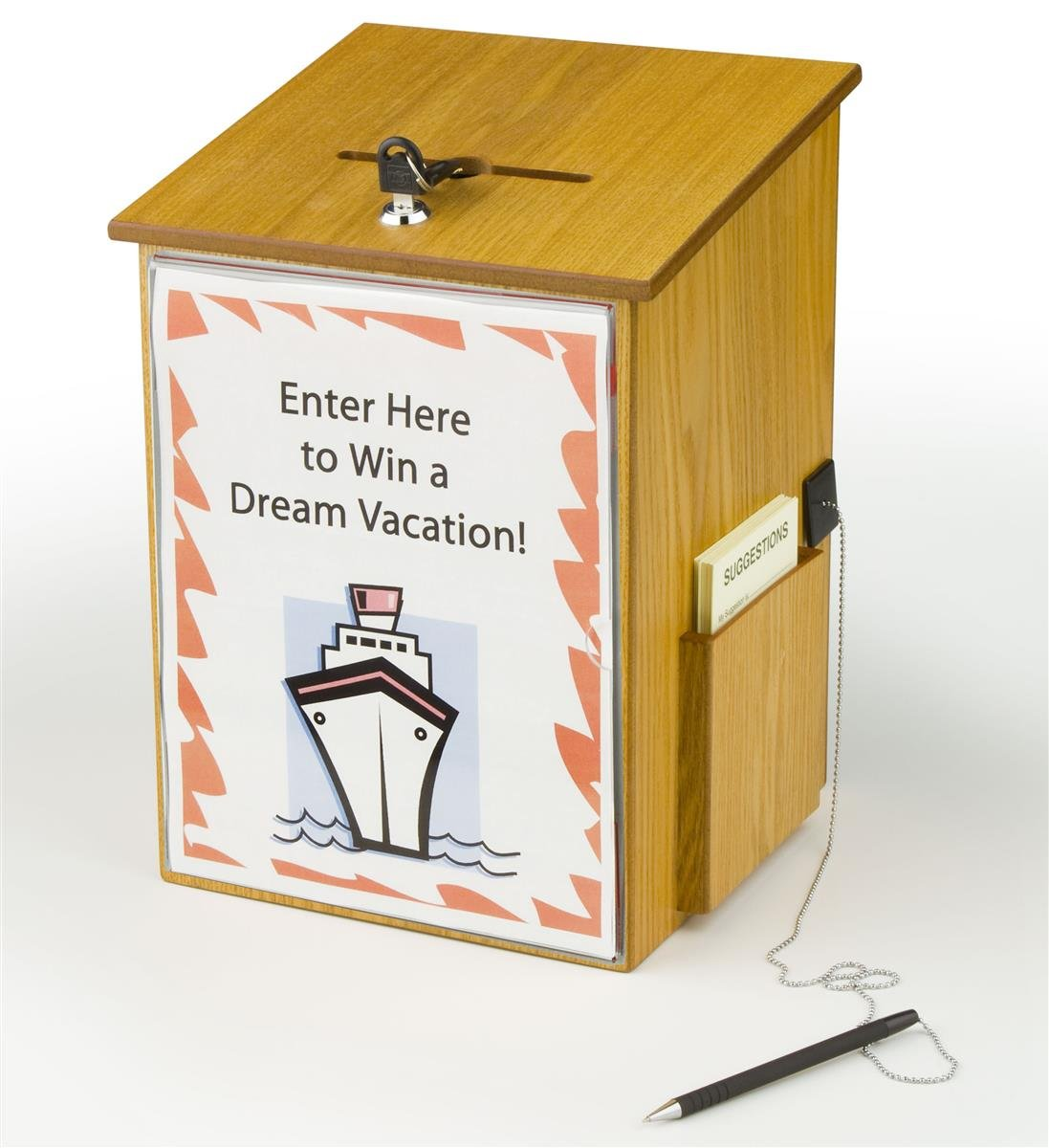 Wood Suggestion Box, Ballot Box with Locking Hinged Lid, Built-in Side Pocket and Security Pen for Wall or Counter - Medium Oak