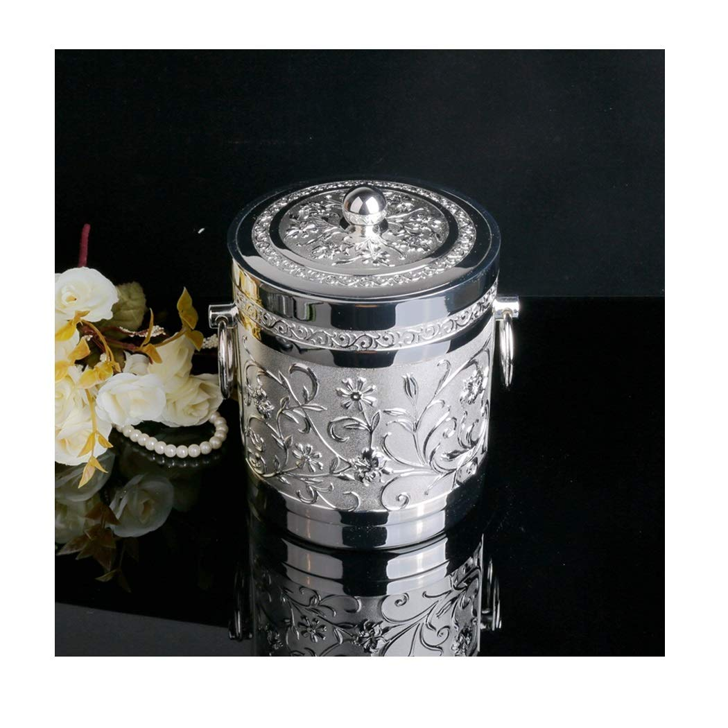 LIAN Metal Alloy Dining Bar Ashtray Ice Bucket Barrel Round Ashtray 20cmX14.5cm