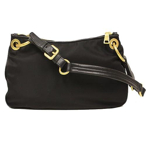 3e72900b99 Prada BR4894 Nero Black Tessuto Soft Calf Leather and Nylon Shoulder Bag   Handbags  Amazon.com