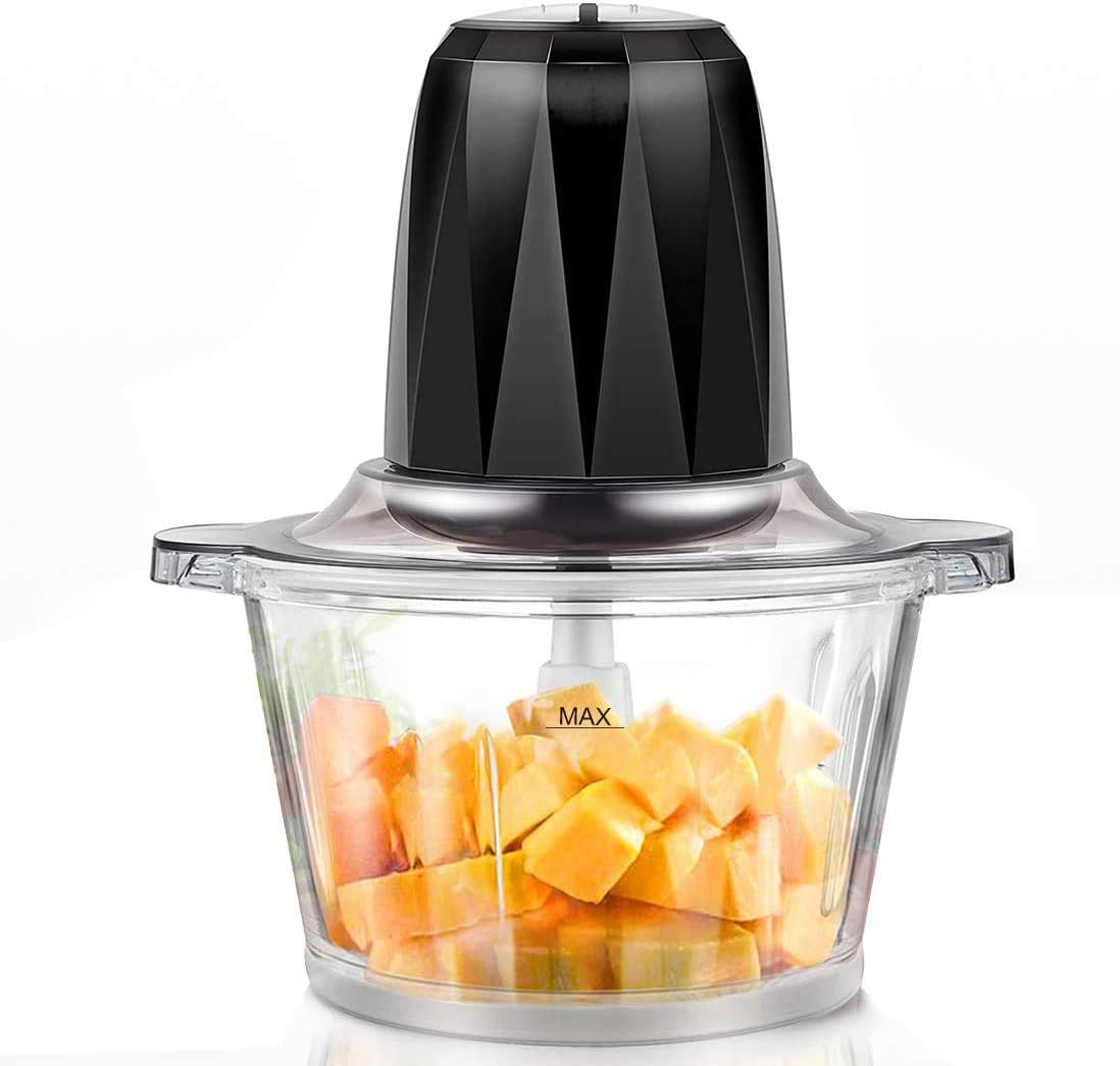 Electric Food Chopper,7-Cup Meat Chopper, 1.8L BPA-Free Glass Bowl, Braking Function, Fast&Slow Speeds Control, 4 Sharp Blades,300W, Mini food processor for Meat,Vegetables, Fruits and Nuts