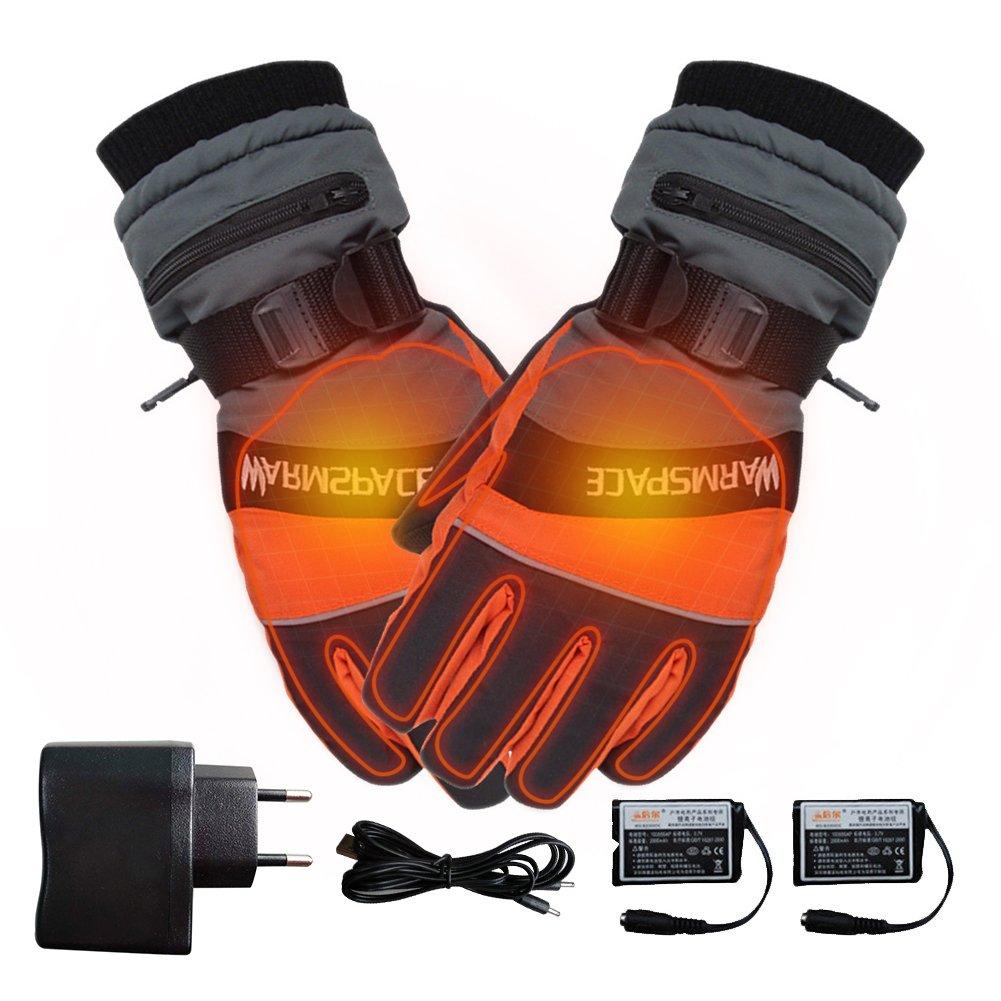 1 par de guantes de invierno, guantes térmicos calientes para hombres y mujeres, calentador de manos USB eléctrico, 4000 mAh Batería recargable Dedos calefactados Caja fuerte para trabajos al aire libre gaeruite