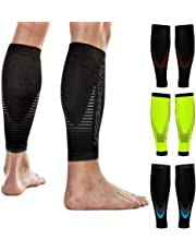 NV Compression Race and Recover Calentadores de pantorrilla de compresión Negros - Compression Calf Sleeves - Black - For Sports Recovery, Work, Flight - Running, Cycling, Soccer, Rugby, Fitness, Gym, Golf, Tennis, Triathlon
