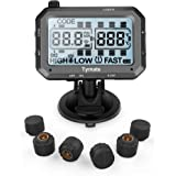 Tymate TPMS Wireless Tire Pressure Monitoring System, with 6pcs External Sensors Real Time Monitoring Pressure and Temperature Large LCD Display