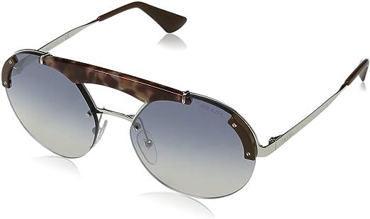 Prada 0PR 52US Gafas de sol, Silver/Pink Havana/Brown, 40 para Mujer