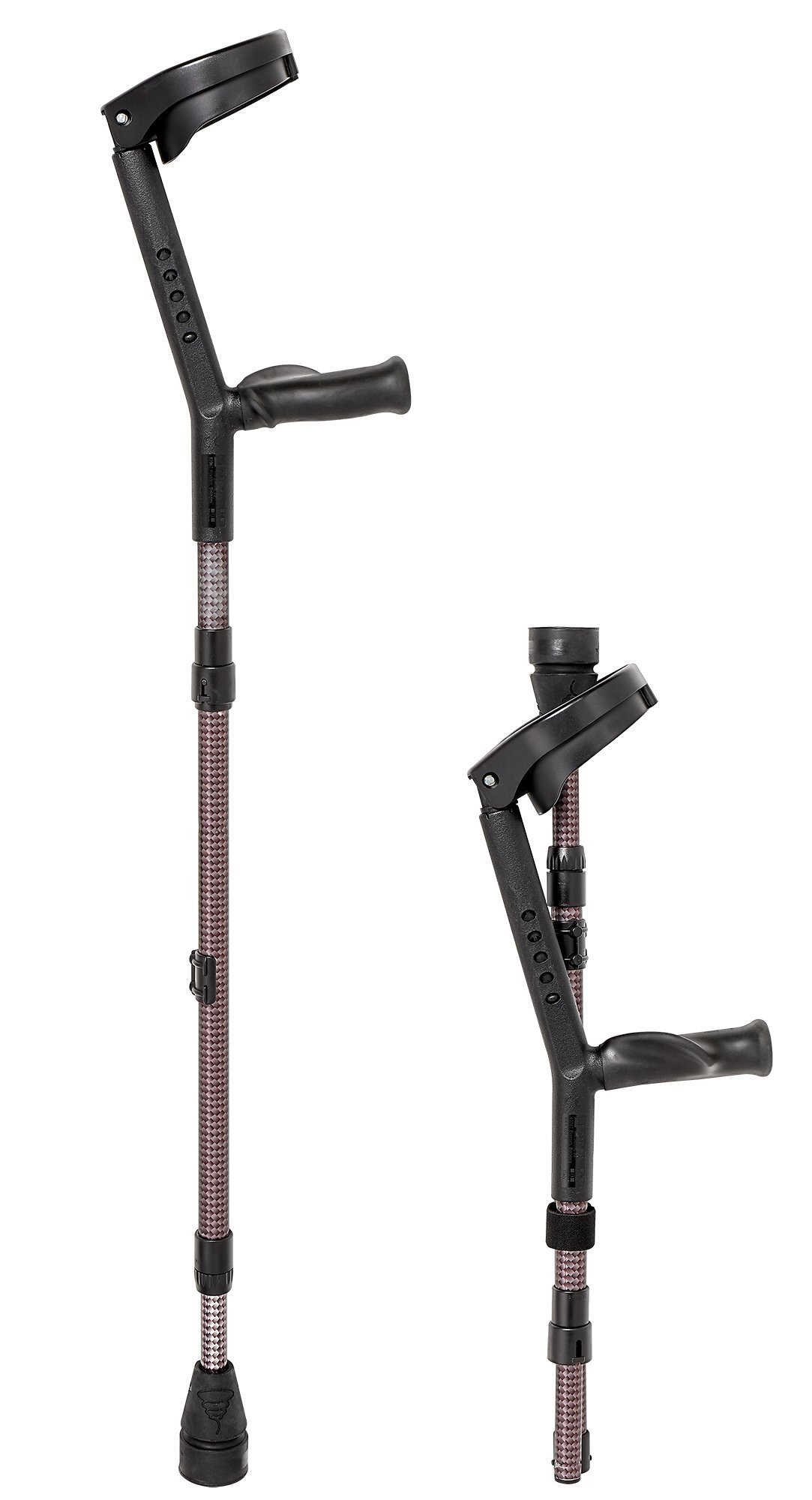 Thomas Fetterman O.P.O. Folding Forearm Travel Crutches Pair with Tornado Gel Tip For Adults Under 225 Pounds, Gray, Pair