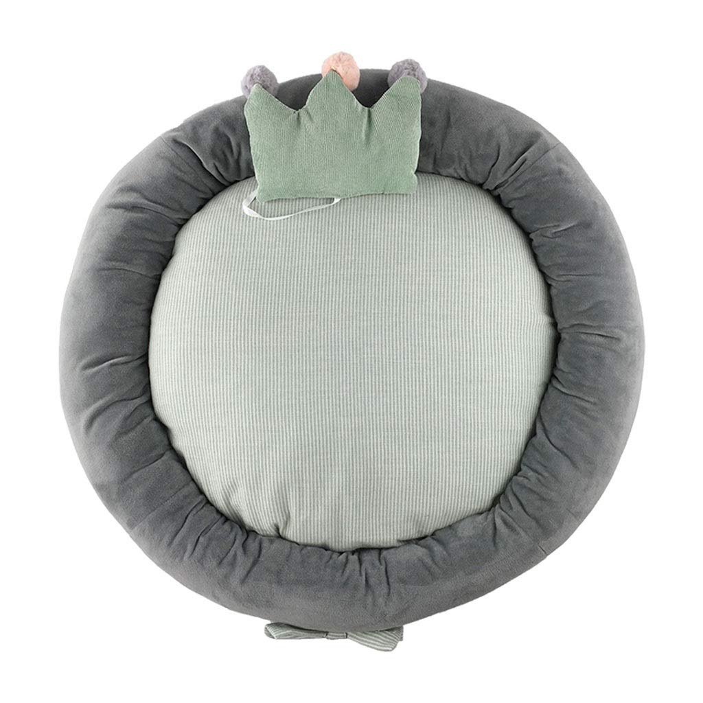 bluee 757511cmEvav Pet Bed,Fully Removable And Washable Round Nest Double Sided Available Kennel Cat Litter Pet Nest (color   Green, Size   75  75  11cm)