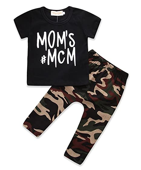 d538f89a Amazon.com: Kids Little Boys Short Sleeve Mom's MCM Tshirt Camo Pants  Outfits Clothes Set: Clothing