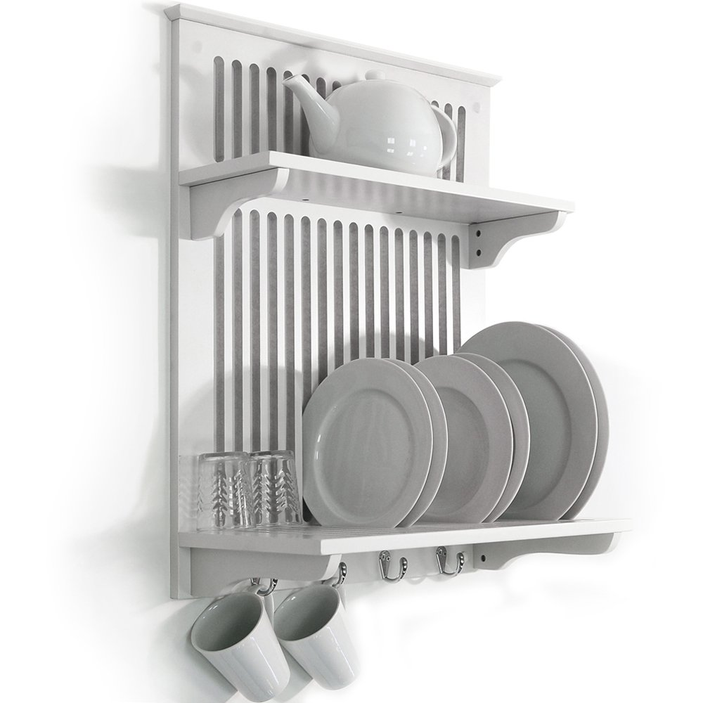 NOVEL - Kitchen Plate Bowl Cup Display / Wall Rack - White  sc 1 st  Amazon UK & CHESHUNT - Wall Mounted Kitchen Plate Cup / Storage Rack - White ...