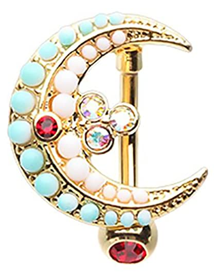 Belly Button Ring Moon Drop Top Down Reverse Navel Jewelry 14 Gauge 3 8 Bar