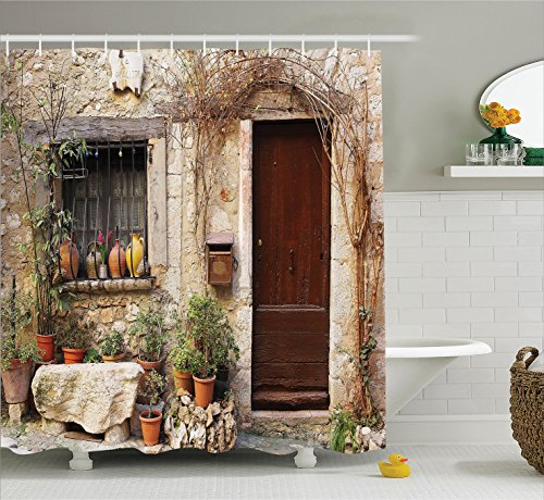 Ambesonne Shutters Decor Collection, Flowerpot plants in Front Yard French Hilltop Village Saint-paul De Vence Heritage, Polyester Fabric Bathroom Shower Curtain, 75 Inches Long, by Ambesonne (Image #1)