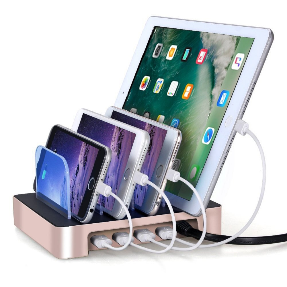 USB Charging Station,XPLUS 4 Ports USB Charging Station Organizer, Charging Stand Universal Detachable Multi-Device Charger Compatible for iPhone,iPad ,Samsung Galaxy S8,Cell Phones,Tablets(Gold)