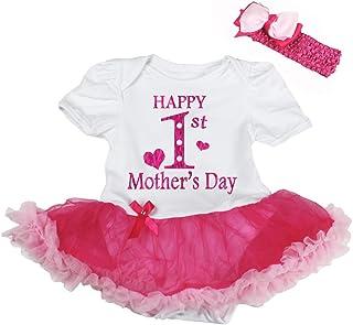 Petitebella Happy 1st Mother's Day White Bodysuit Hot Pink Tutu Nb-18m