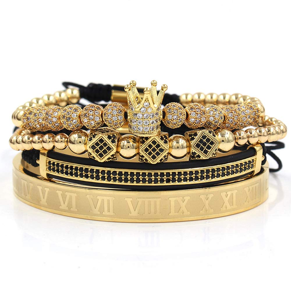 Imperial Crown King 18 K Gold Beads Bracelet Luxury Charm Fashion Jewelry with Marbling Bracelet Box for Men Women (Gold)