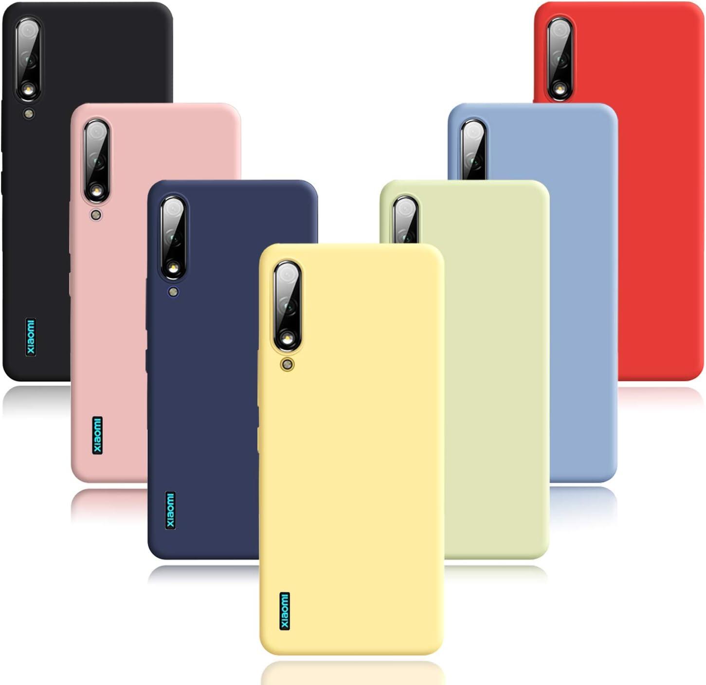 Meeter 7 x Funda Xiaomi Mi 9 Lite/Mi CC9, 7 Unidades Carcasas Ultra Fina Silicona TPU de Alta Resistencia y Flexibilidad Caso Colores (Negro+Rojo+Azul Oscuro+Rosa+Lavanda+Amarillo+Verde)