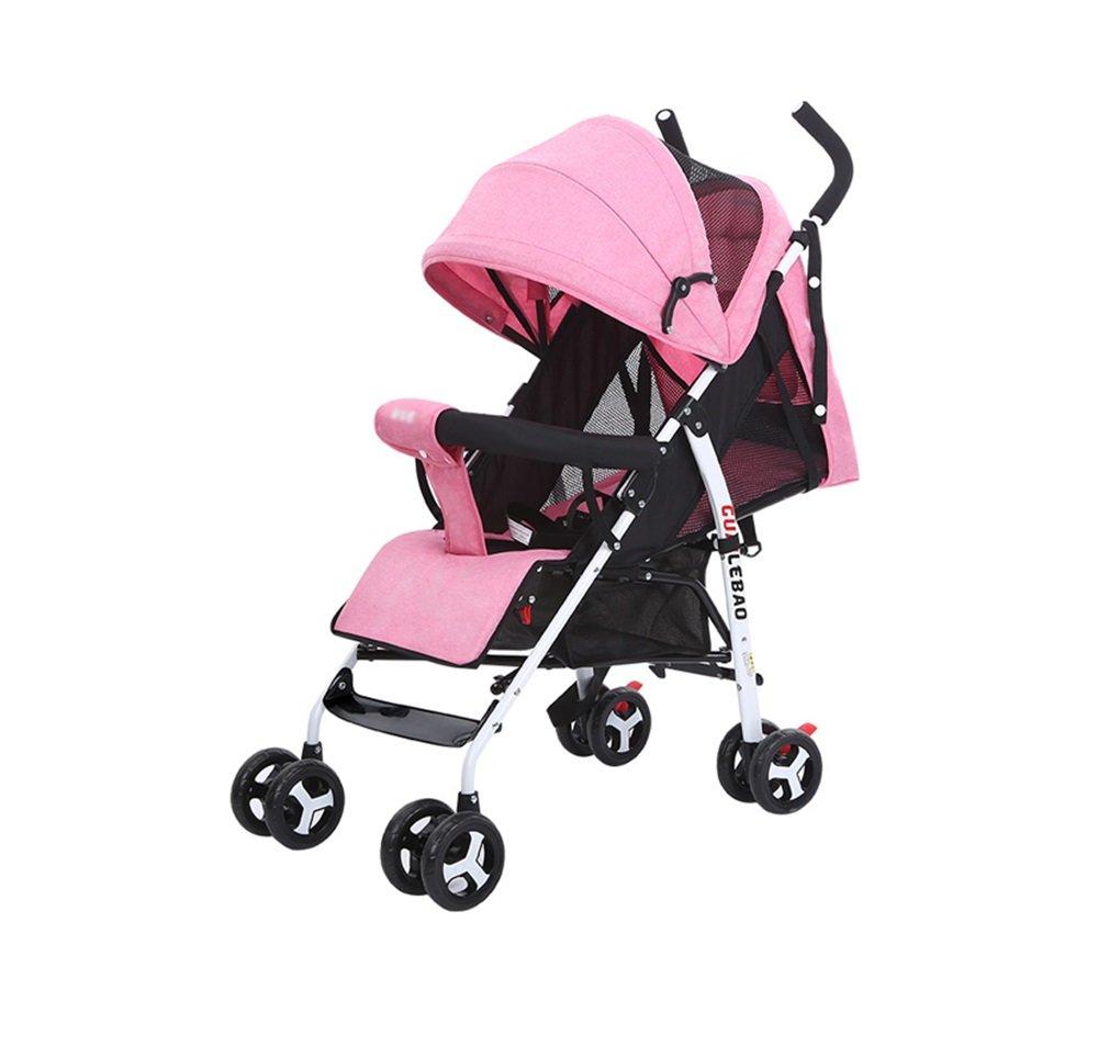 ZELIAN Semplice Bambino Portatile Trolley Bambino Ombrello Auto Quattro Stagioni Universale Pieghevole Antiurto Parasole Auto Oxford Panno (rosa)
