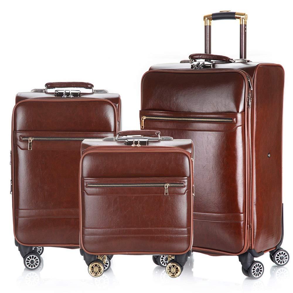 旅 ギスーツケース PUレザー荷物3個セット拡張可能なアップライトキャリースーツケース軽量360°サイレントスピナー多方向ホイール(旅行用飛行機のフライト用)およびチェックイン16インチ20インチ24インチ (色 : Dark brown, サイズ : 16in+20in+24in) B07VHNSLXM Dark brown 16in+20in+24in