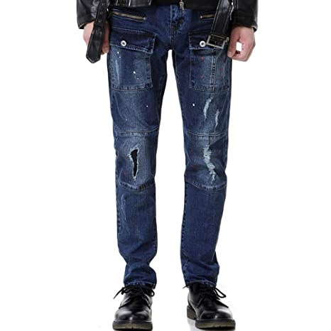 Hombres de Moda multibolsillo Jeans Pierna cónica Agujero ...