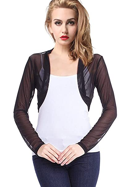9adbe1c300547 ETAOLINE Womens Sheer Mesh Bolero Shrug Long Sleeve Cropped Cardigan at  Amazon Women s Clothing store